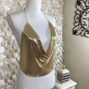 Tops - Gold Metal Sequin Tank Top Sexy